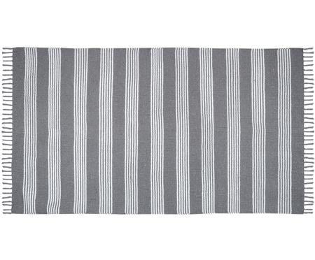 Tapis en coton anthracite et blanc à franges Harlan
