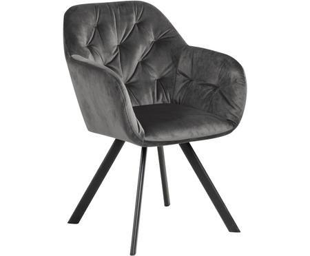 Krzesło z podłokietnikami z aksamitu Lola