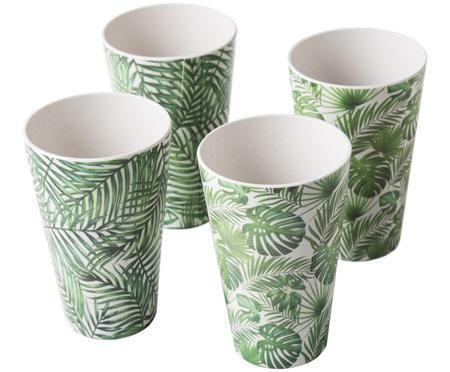 Bamboehouten bekerset Tropical, 4-delig