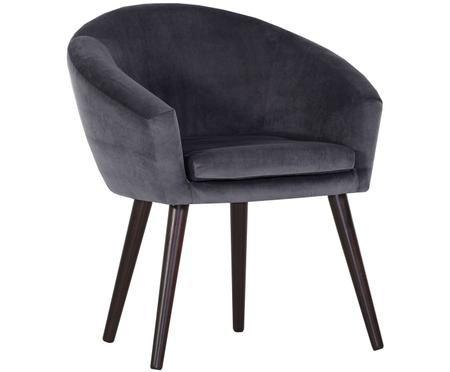 Chaise en velours gris et à accoudoirs Lino