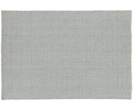 Fein gestreifter Wollteppich Ajo in Blau-Creme, handgewebt
