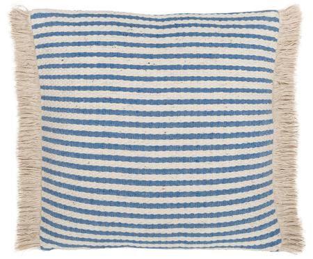 Cuscino a righe Abigail in blu / bianco con frange, con imbottitura