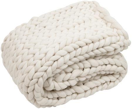 Manta de lana merino tejida a mano Chunky