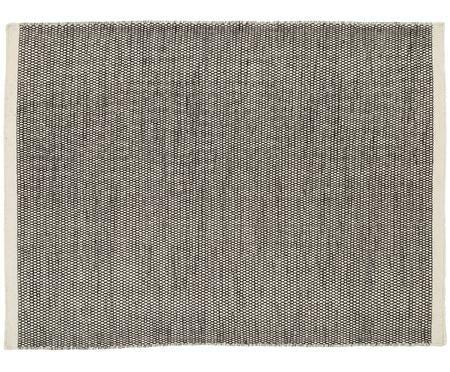 Tappeto tessuto a mano Asko in nero-crema in lana