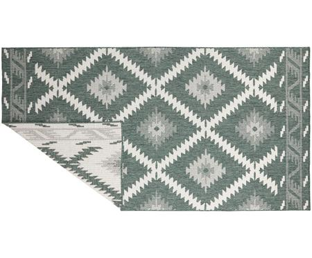 Dubbelzijdig in- & outdoor vloerkleed Malibu in ethno stijl, groen-wit