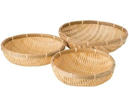 Handgemaakte opbermandenset Bambu, 3-delig