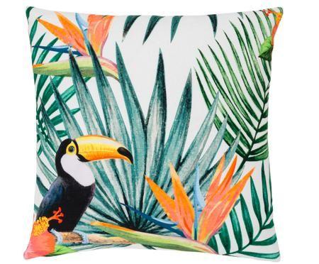 Kissenhülle Polly mit tropischem Print in Bunt
