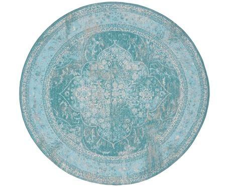 Vintage Chenille vloerkleed Palermo in turquoise