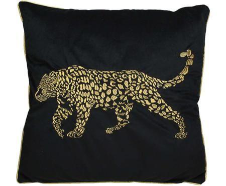 Coussin en velours noir à broderies dorées Majestic Leopard