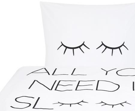 Perkal-Bettwäsche Sleepy Eyes mit Schriftzug