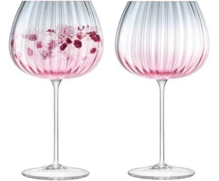Handgemaakte wijnglazen Dusk met kleurverloop, 2 stuks