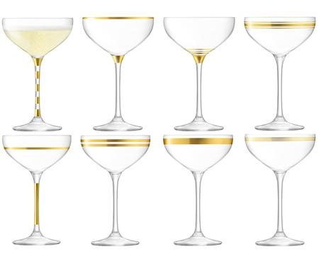 Set coppe da champagne Deco, set di 8