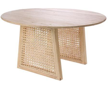 Tavolino da salotto rotondo in vimini Retro