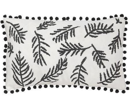 Kussenhoes Jungle met bladmotief en pompoms