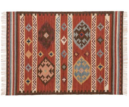 Handgewebter Kelimteppich Zohra aus Wolle