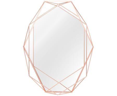 Ovaler Wandspiegel Prisma mit Kupferrahmen