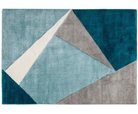 Tapis à imprimé géométrique beige-bleu MyBroadway