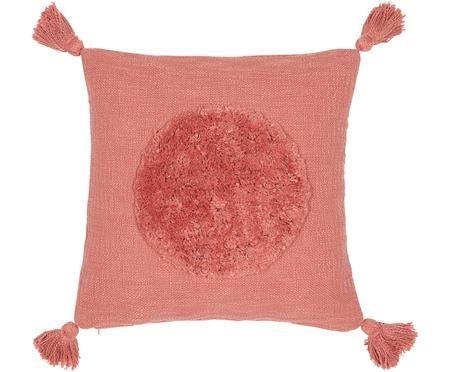 Housse de coussin en coton bio avec houppes Sun