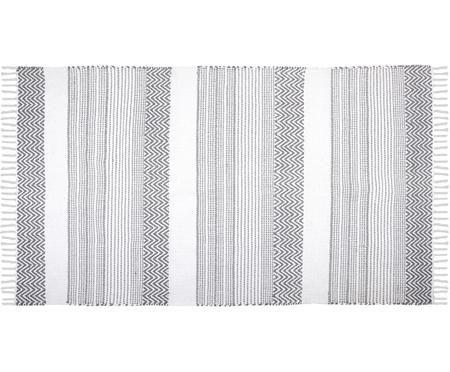 Baumwollteppich Iceland mit grafischem Muster in Grau/Weiß