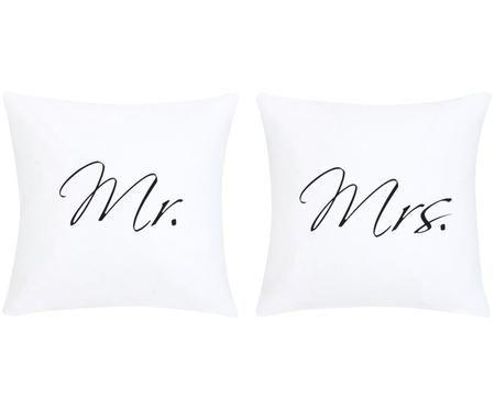 Perkal-Kissenbezüge Mr&Mrs mit Schriftzug, 2er-Set