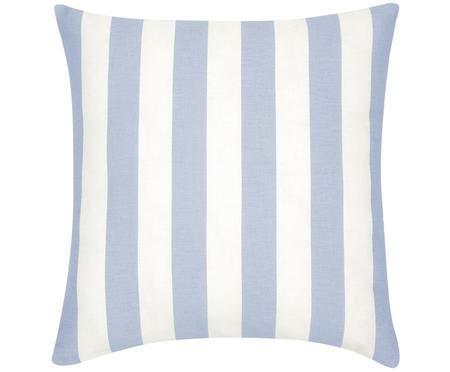 Housse de coussin à jeu de rayures bleu clair et blanc Timon