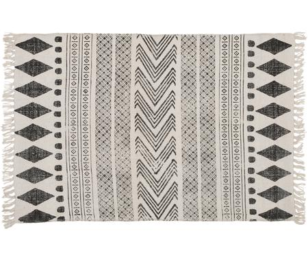 Handbedruckter Teppich Block im Ethno Style, Schwarz-Creme