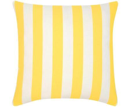 Gestreifte Kissenhülle Timon in Gelb/Weiß