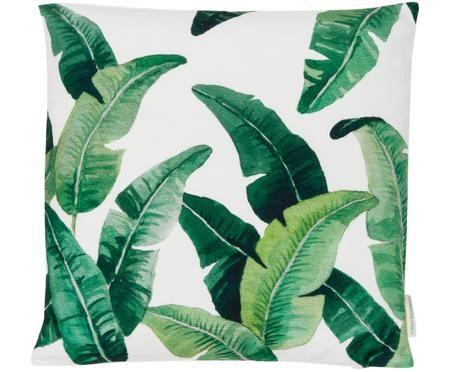 Housse de coussin à imprimé feuilles tropicales vert et blanc Leaves