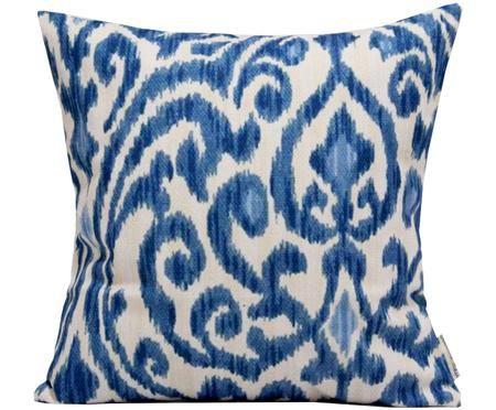 Leinen-Kissenhülle Ikat Floral in Blau/Weiß mit Muster