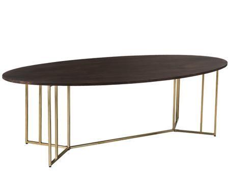Tavolo da pranzo ovale in legno massiccio Luca