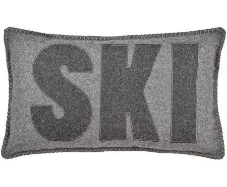Wollfilz-Kissenhülle Ski in Grau mit Schriftzug
