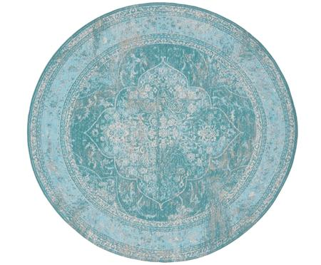 Tapis rond chenille vintage turquoise Palermo