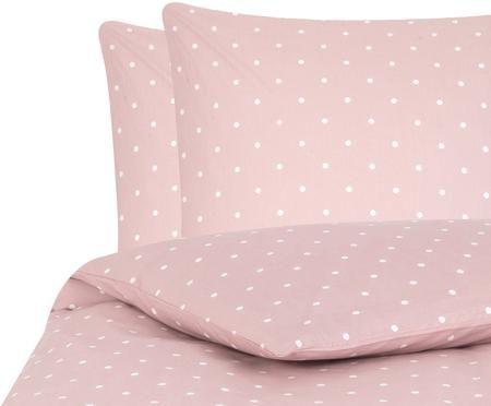 Gepunktete Renforcé-Bettwäsche Dotty in Rosa/Weiß