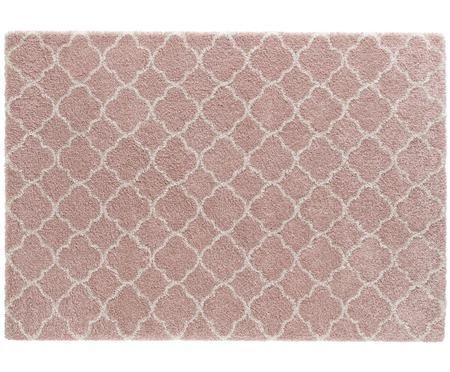 Hoogpolig vloerkleed Grace in roze crèmekleur