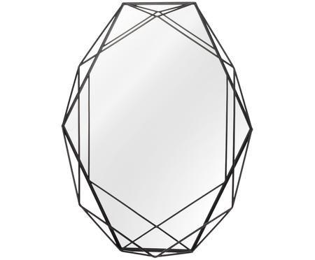 Miroir mural ovale avec cadre noir en métal Prisma