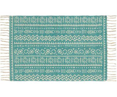 Teppich Afra mit grafischem Muster in Türkis-Weiß