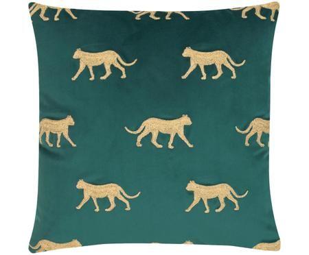 Haftowana poszewka na poduszkę z aksamitu Cheetah