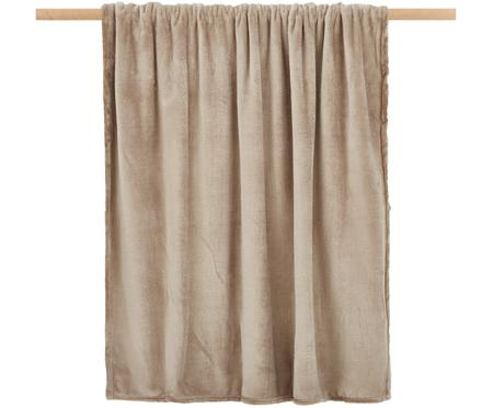 Weiches Fleece-Plaid Doudou in Taupe