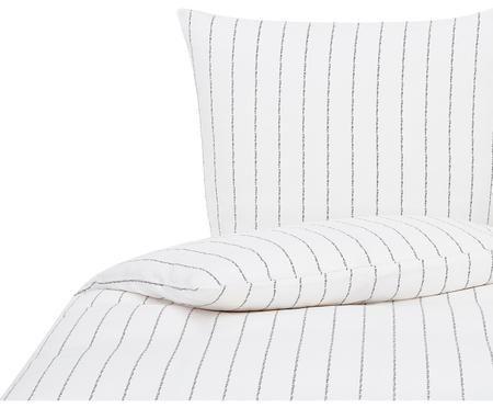 Baumwollsatin-Bettwäsche Jora mit Schriftzug im Streifen-Design