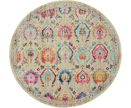 Tapis rond à poils ras Kashan Vintage