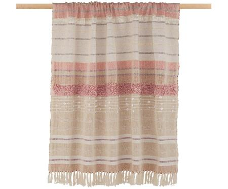 Plaid Madison in rosa/beige con fili di lurex