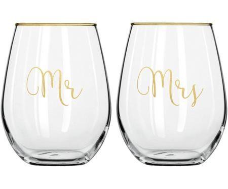 Gläser Mr and Mrs mit goldener Aufschrift, 2er-Set