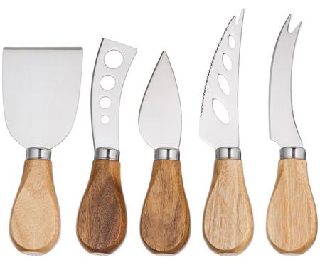 Couteaux à fromage argentés avec manche en bois Frija, 5élém.