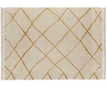 Flauschiger Hochflor-Teppich Primrose in in Creme mit Rautenmuster