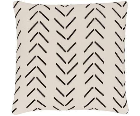 Kissenhülle Akule mit grafischem Muster in Ecru/Schwarz