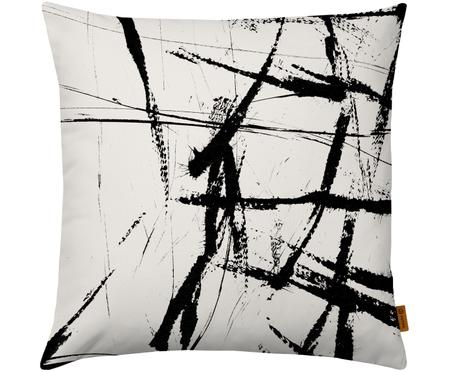 Kussenhoes Neven met abstract print in zwart/wit