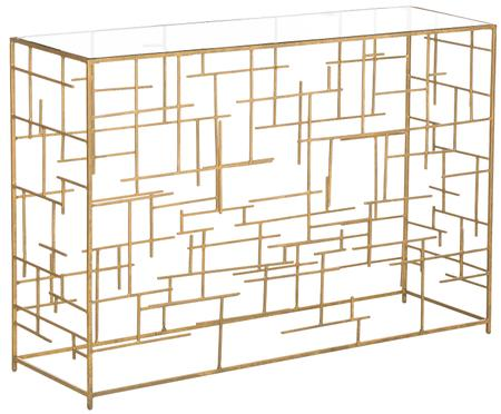 Sidetable Nola van glas en goudkleurig metaal