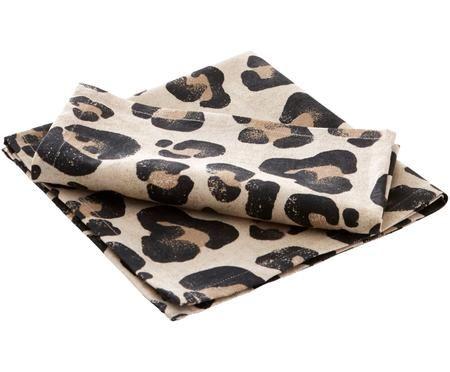 Katoenen servetten Jill met luipaarden-print, 2 stuks