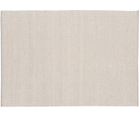 Handgewebter Wollteppich Corsa mit erhabenem Wellenmuster in Grau-Creme