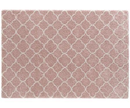 Hochflor-Teppich Grace in Rosa-Creme